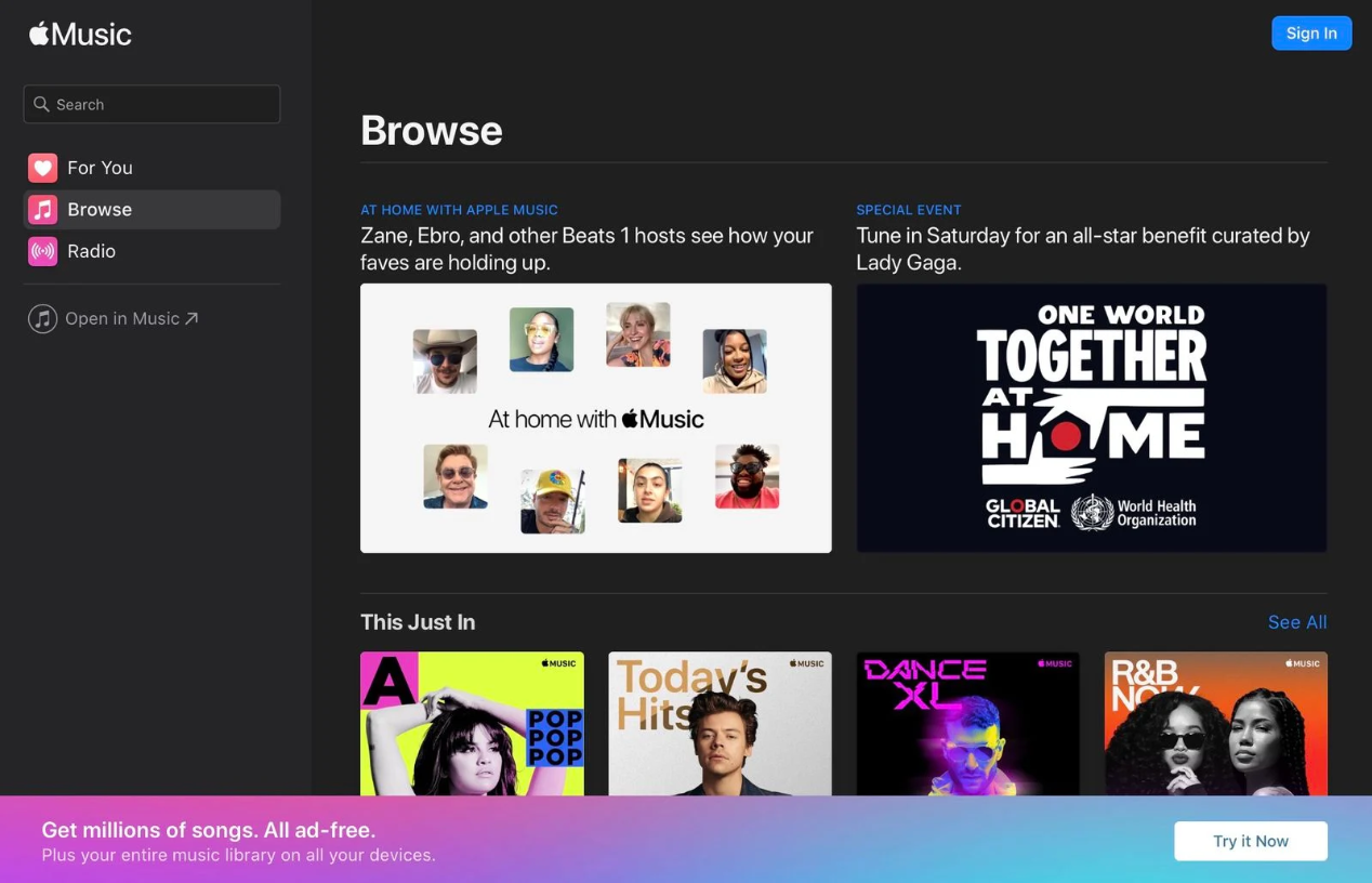 Apple Music网页版正式上线 包含推荐、播放等功能