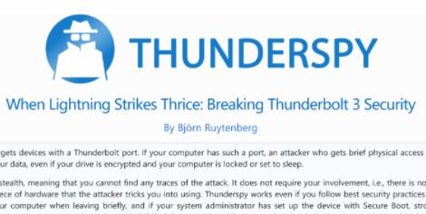 """2019 年之前生产的任何 PC 都容易被""""Thunderspy""""攻击"""