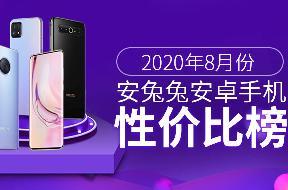 安兔兔发布2020年8月不同价位Android手机性价比排行