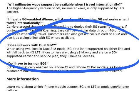 国行 iPhone 12 系列支持双卡模式下使用5G网络