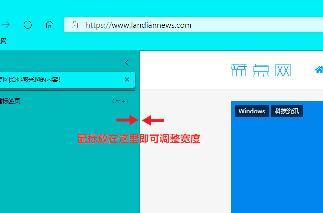 微软 Edge Canary 预览版支持调整垂直标签页大小