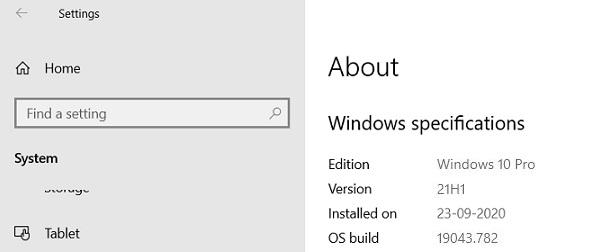 微软准备就绪:Windows 10 21H1将推送 版本号19043