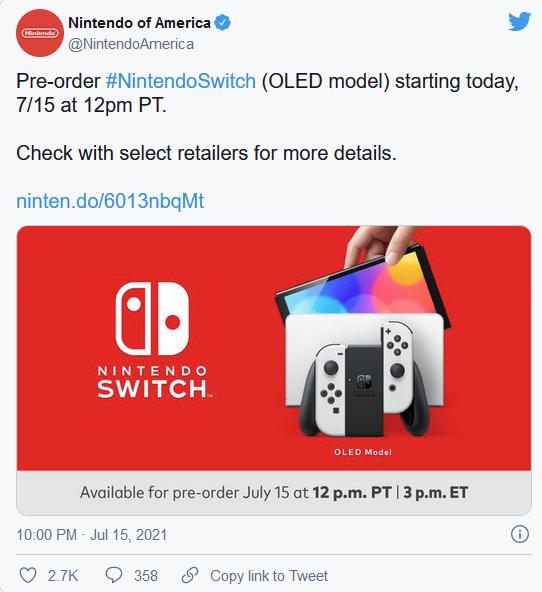 任天堂回应 Switch OLED 定价问题,新机将在2022年到来