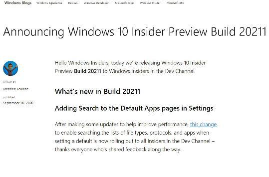 微软发布Win 10 Insider Preview Build 20211