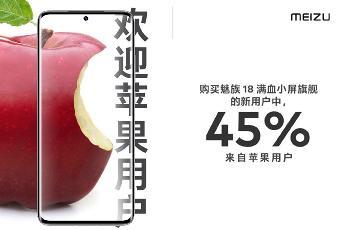 魅族18秀数据:新用户45%来自苹果