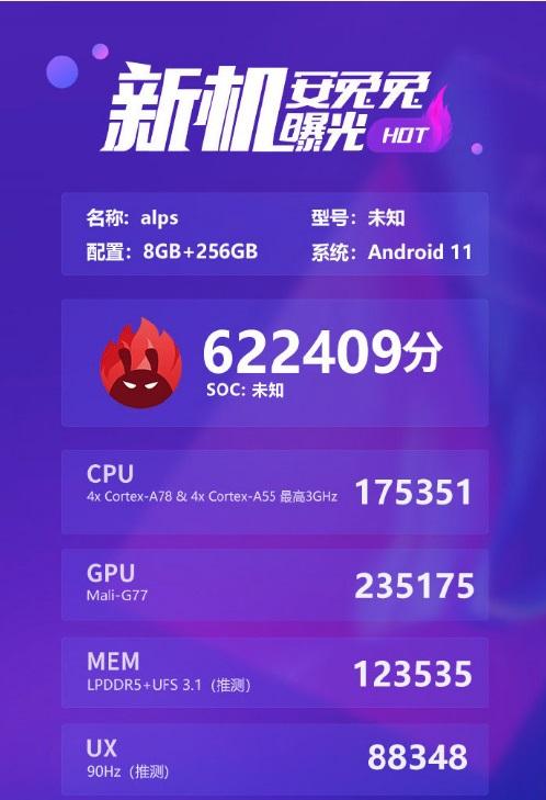 联发科 6nm 芯片 MT6893 跑分曝光:综合分 62 万多,超过骁龙 865